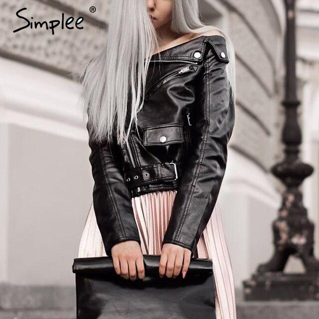 Simplee С плеча искусственной кожи куртка женщин мотоцикл куртки 2016 осень зима верхняя одежда пальто Короткое молнии основные куртки