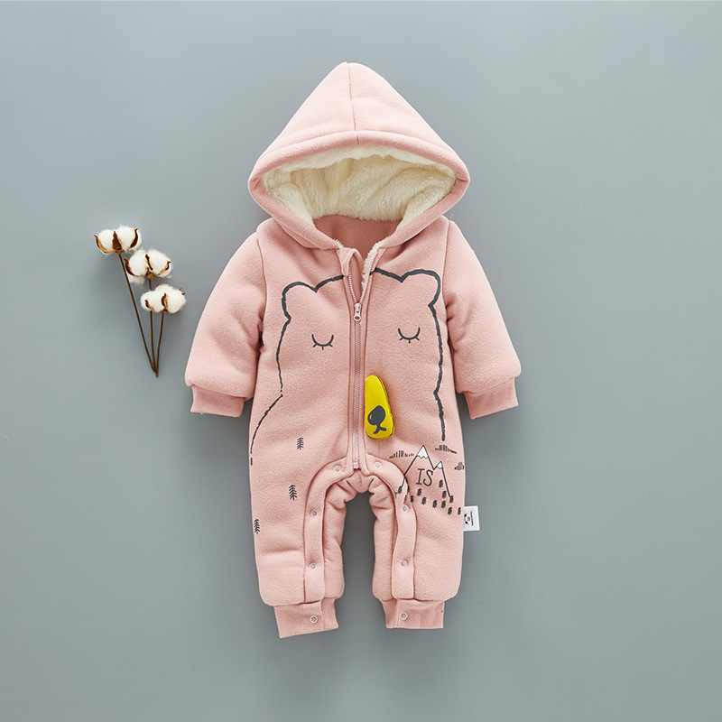 AOSTA BETTY Fleece Hooded Baby Girls' Romper Winter Cotton Bear Printed Long Sleeve Zipper Newborn Infant Girls Boys Jumpsuits