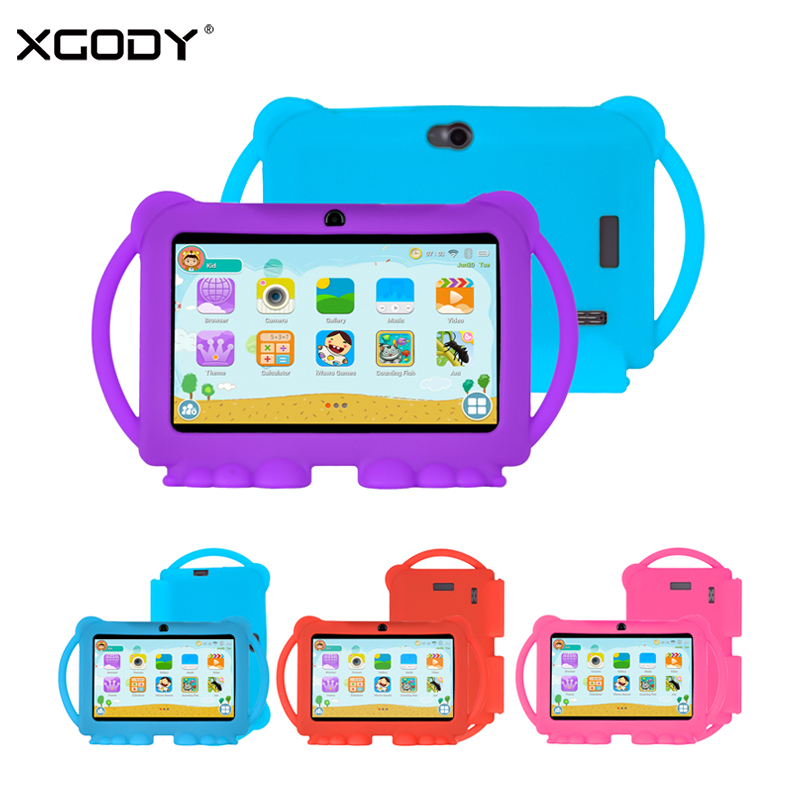 XGODY New 7 Inch Kids Tablet PC Android 8.1 1GB 16GB 1024*600 HD Screen Tablets With Stand Silicone Case Cover For Children WiFi