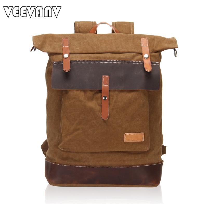 ФОТО 2017 VEEVANV Designer Vintage Men's Backpacks Canvas Women Laptop Backpack School Backpack Travel Shoulder Bags Leather Rucksack