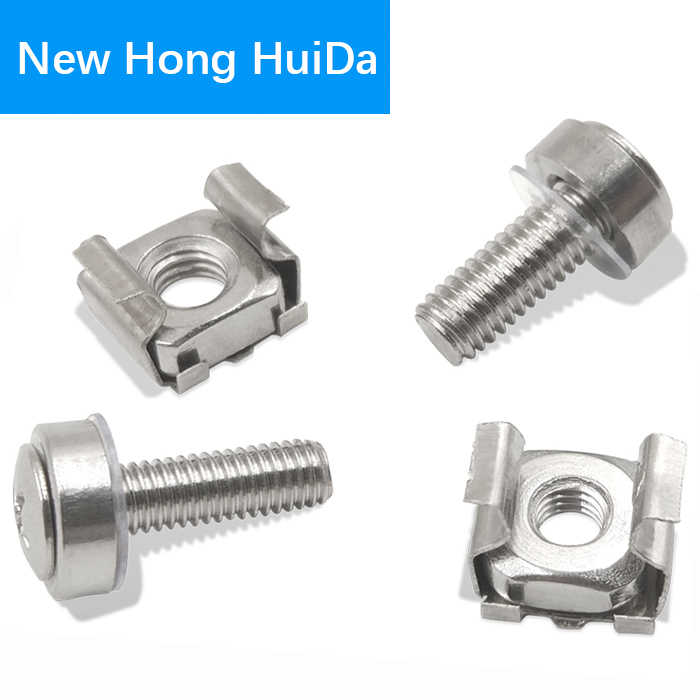 Cage Nuts Bolts Washers Metric Square Hole Hardware Server Rack Screw Mount  Clip Nuts M5