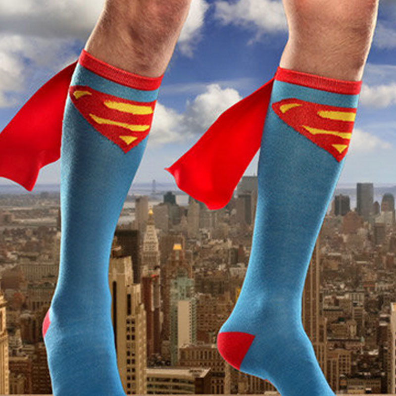 Unisex Super Hero Superman Batman Knee High With Cape Cosplay Socks Gift ...