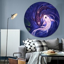 Oil Style Painting Circular Yin-Yang Fallen Angels Fish Picture Canvas Print Type Modern Artwork Home Decor Wall 1 Piece Poster