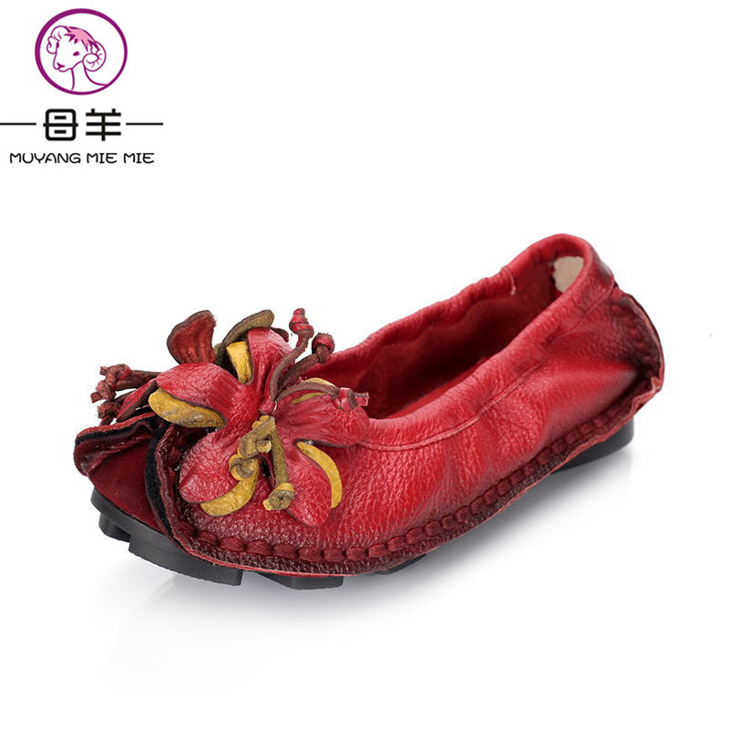 MUYANG Chinese Brands Spring Autumn Loafers Women's Flat Shoes Woman Genuine Leather Handmade Soft Comfortable Shoes Women Flats muyang new 2017 women shoes genuine leather flats round toe bowtie soft comfortable flat shoes spring autumn casual female shoes
