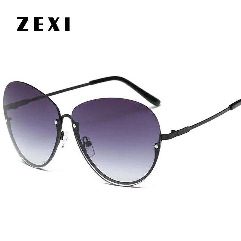 ZEXI Halbrahmen Polarisierte Sonnenbrille Frauen Pilotenbrille 2017 ...