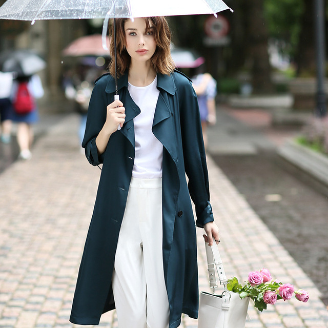 100% Heavy Silk Windcoat Women Trench Coat Classical Design Dustcoat Double Breasted Sashes 3 Colors Spring 2018 New Fashion