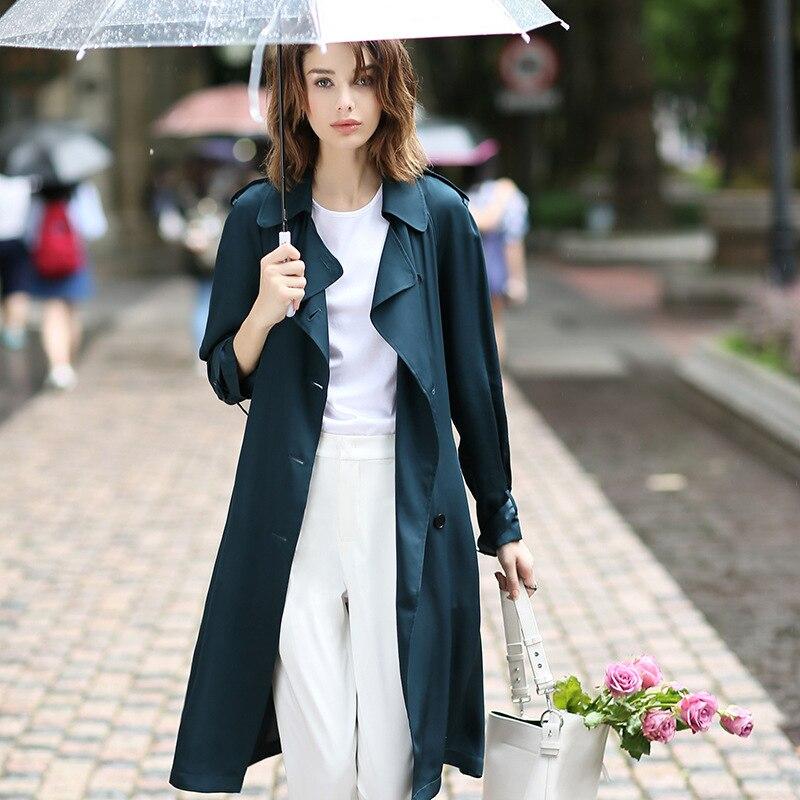 100% Soie Lourde Windcoat Femmes Tranchée Manteau Classique Conception Dustcoat Double Breasted Ceintures 3 Couleurs Printemps 2018 Nouvelle Mode