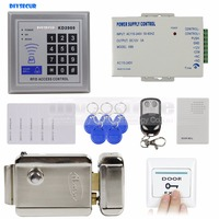 DIYSECUR Full Complete Rfid Card Reader Door Access Control Kit + Electric Lock + Door Bell for Office / Home Improvement