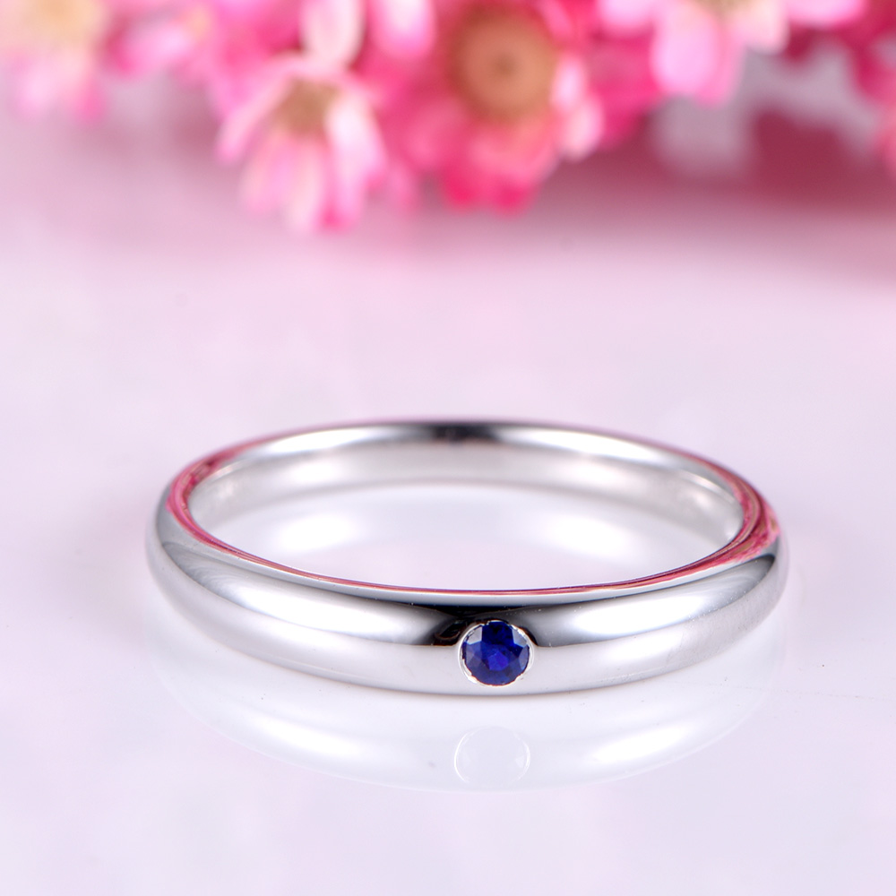 Natural Genuine Blue Sapphire 14k White Gold Wedding Band Plain ...