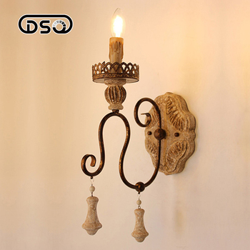 DSQ,Vintage Solid Wood Wall Lamp for Living Room Hotel and Bedroom Decoration