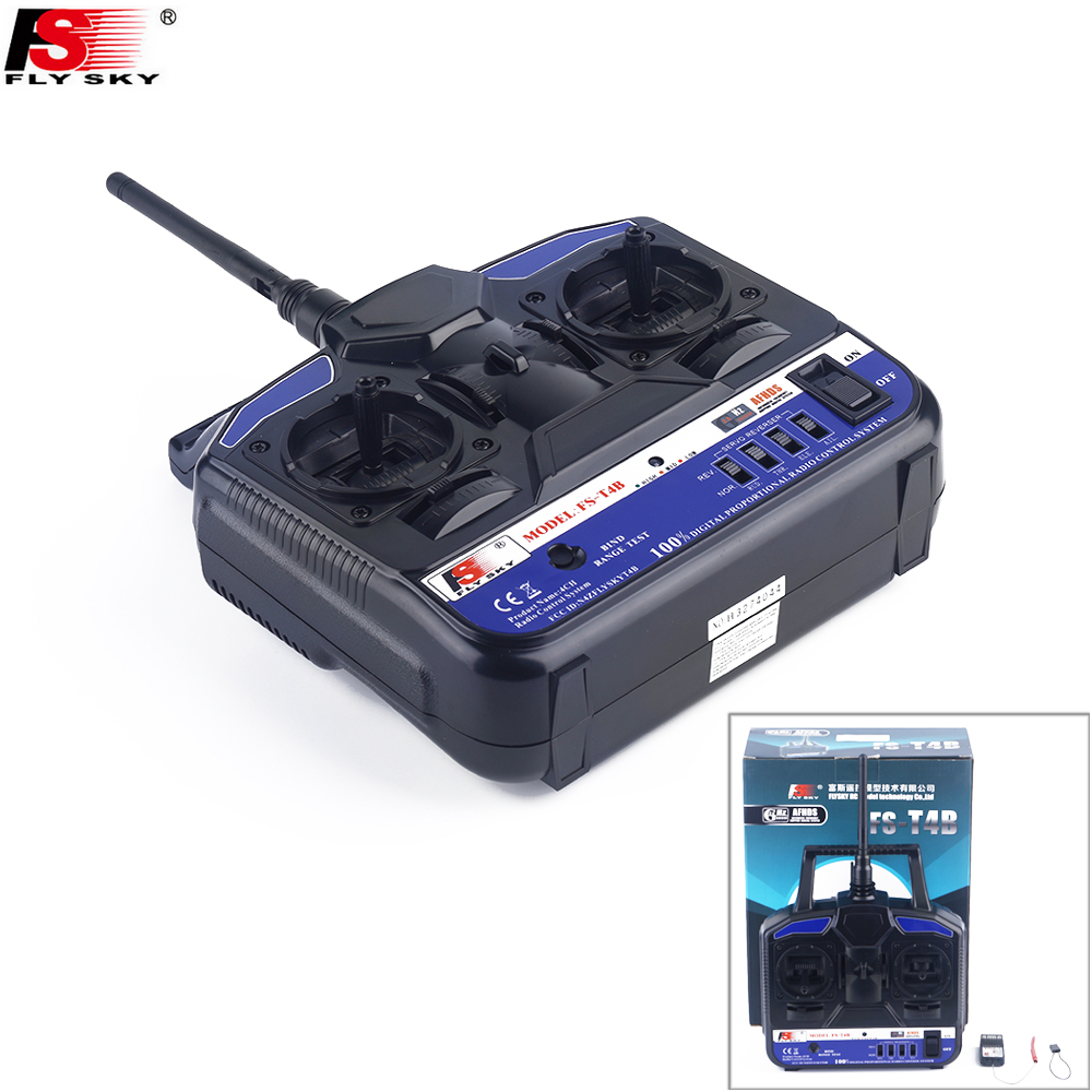 FlySky FS-T4B 2.4G 4CH Radio Control RC Transmitter & RC Receiver for RC Airplane Parts hubsan h301s spy hawk 4ch rc airplane