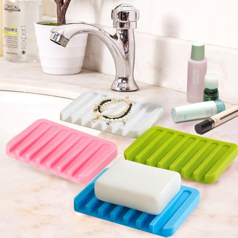 Silicone Flexible Soap Dish Bathroom Accessories Storage Soap Holder ...