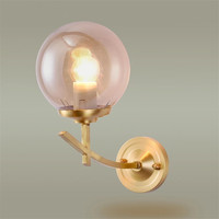 Nordic Restaurant Modern Minimalist Style Living Room Bedroom Brass Wall Lamp Copper Material 15mm Amber Glass
