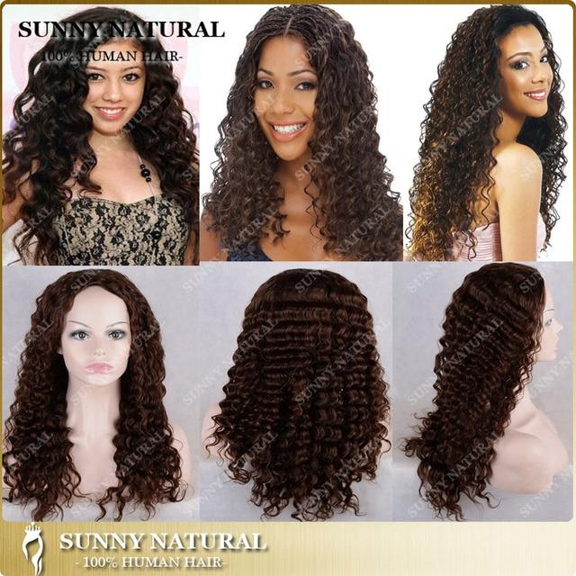 Wavy Human Hair Half Wig No Lace Wig Virgin Brazilian Human Hair Wigs Cap Half  Wig Hair Extension For Black Women Customized 06a64bc04c