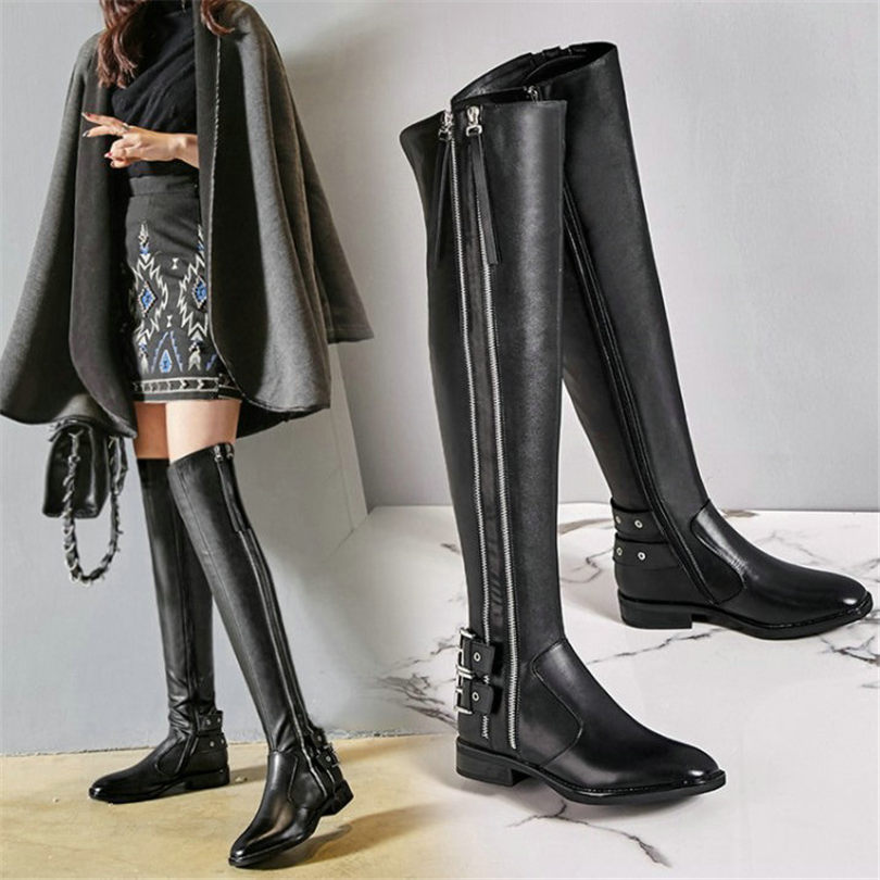 NAYIDUYUN  New Thigh High Boots Women Black Genuine Leather Over The Knee Riding Booties Low Heel Tall Shaft Punk Oxfords