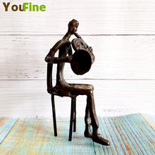 Bronze small abstract musician statue bar interior decoration antique collectibles все цены