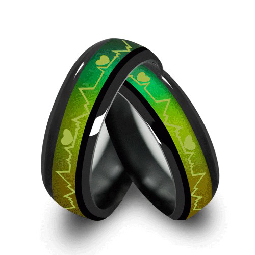 MMS Fashion Titanium Black Mood Rings Temperature Emotion Feeling Engagement Rin