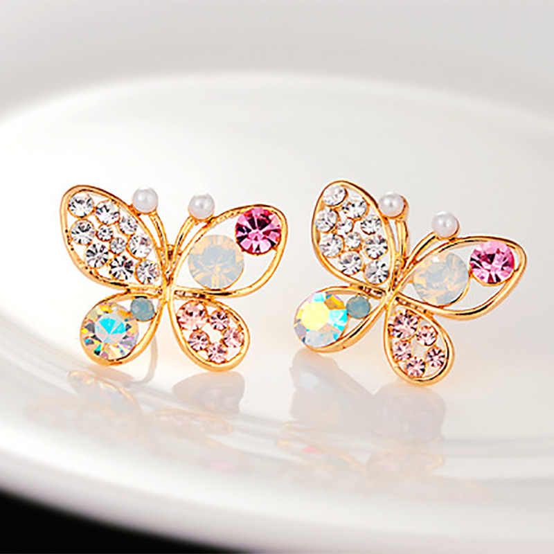 New Hollow Cubic Zirconia Rhinestone For Women Earring Jewelry Accessory Crystal Simulated Pearl Butterfly Stud Earrings