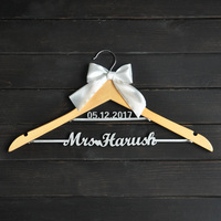 Custom Wedding Hanger With Bowknot Single Line Name Hanger Personalized Bridal Hanger Bridesmaids Name