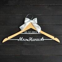 Custom Wedding Hanger With Bowknot Single Line Name Hanger Personalized Bridal Hanger Bridesmaids Name