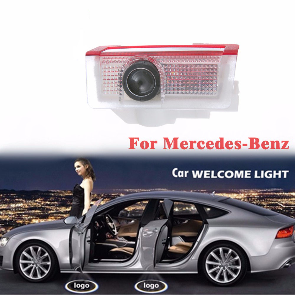 Newest 2Pcs For Benz Shadow Light Welcome Lamp Logo Laser Projector Car LED Door Warning Light For Benz Mercedes
