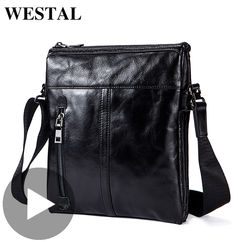 Westal Retro Shoulder Messenger Women Men Bag Genuine Leather Briefcase Office Business Work For Handbag Male Female Small Bag