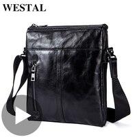 Westal Retro Shoulder Messenger Women Men Bag Genuine Leather Briefcase Office Business Work For Handbag Male Female Small Bag
