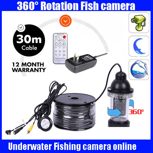 30Meters Depth 360 Degree Rotative Underwater fishing Camera with 18pc LED for Fish Finder & Diving Camera Application  EYOYO