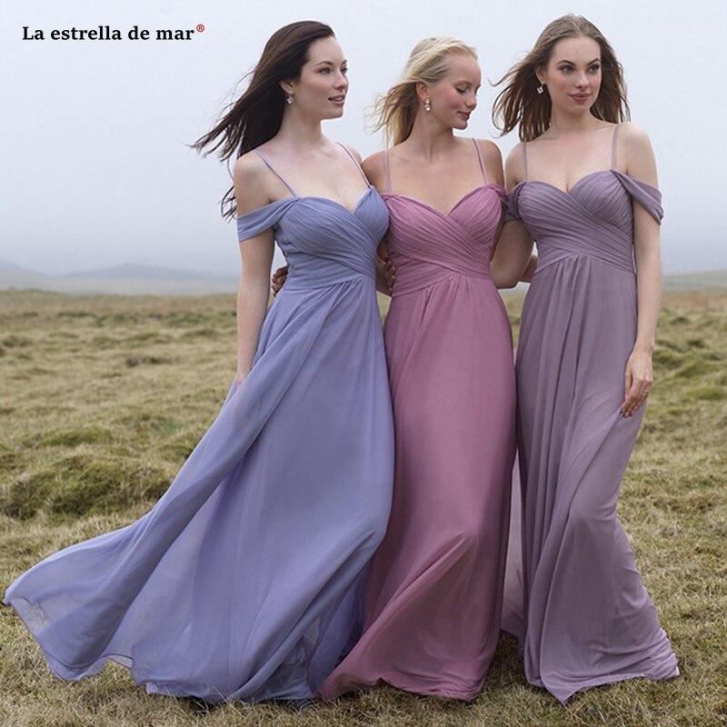 Vestido boda mujer invitada new chiffon sexy V neck A line lavender blush pink   bridesmaid     dress   long   dress   for wedding party