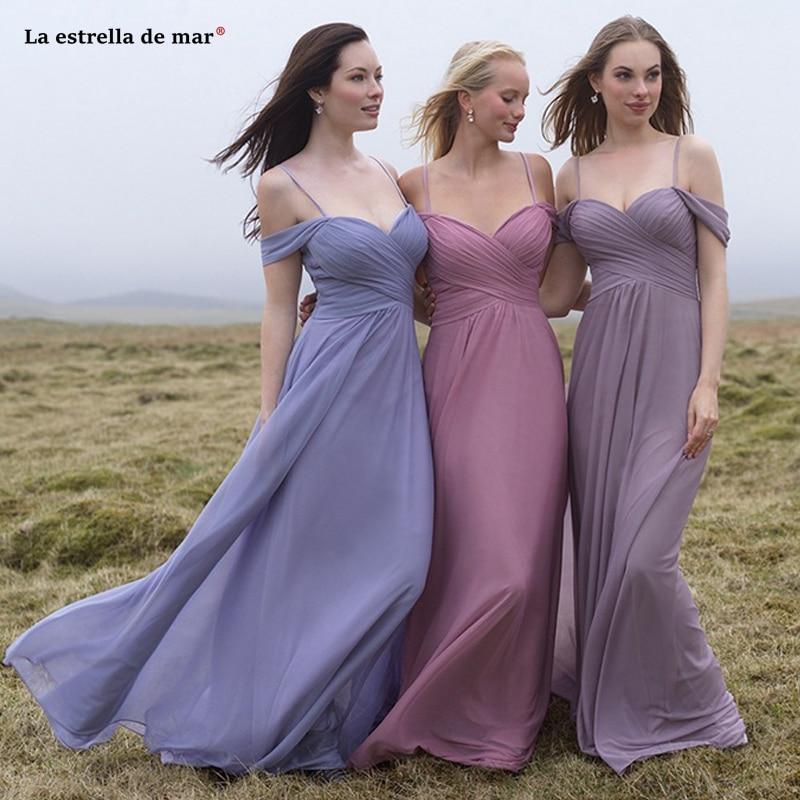 Vestido boda mujer invitada nouvelle mousseline de soie sexy col en V une ligne lavande blush rose robe de demoiselle d'honneur longue robe pour la fête de mariage