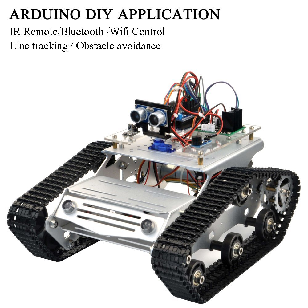 Image 2 - KOOKYE Robot Car Chassis Smart Tank Platform Metal Stainless Steel 2DW Motor 9V for Arduino / Raspberry Pi DIY(TR300)-in Demo Board from Computer & Office