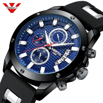 NIBOSI Chronograph Watch Men Sport Quartz Clock Mens Watches Top Brand Luxury Silicone Waterproof Black Blue Male Military Watch