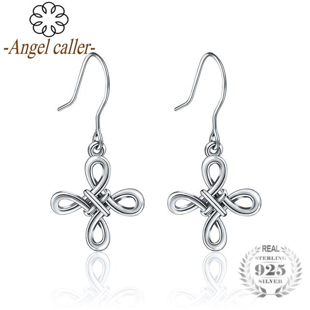 b66ea89b0616 Angel Caller S925 Silver Cross Earrings Sterling Silver Good Luck Irish  Celtics Knot Vintage Dangles Drop Earring for Women