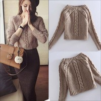 New 2017 Winter 2 Pieces Sweater Dress Set Women Long Sleeve Office Wear Casual Pullover Knitted