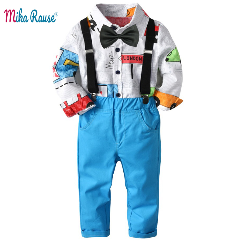 Spring Fashion kids boys clothes set flower print shirts blue trousers baby uniform birthday dress gifts toddler clothing suit