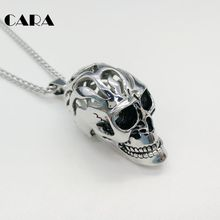 CARA New Gothetic 316L stainless steel Big 3D skull necklace pendant mens halloween punk Hollow out skull necklace gift CARA0370 vintage skull eagle hollow out pendant necklace for men
