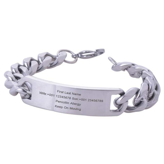 Personalized Men Stainless Steel ID Bracelet Engraved Medical ID Alert  Bangle Jewelry