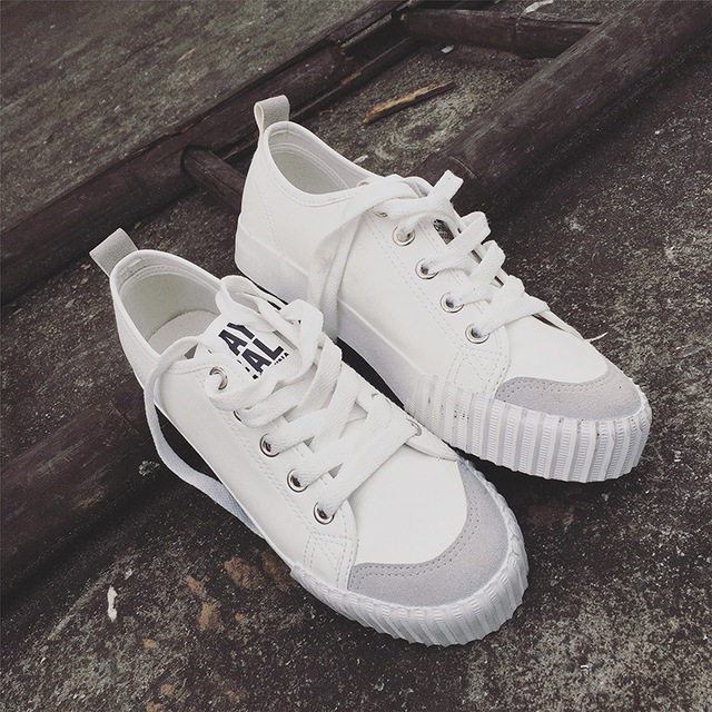 2017 New Brand Summer Women Casual Shoes Lace-Up Mixed Color Flat Canvas Plus Size Thick Sole Vintage White/Black Shoes XJ338
