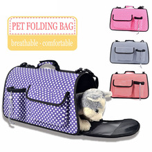 KIMHOME PET Dog Bags For Small Dogs Breathable Dot Stripe Folding Messenger Bag Portable Pet Carrier Bag For Medium Dogs Cats SL