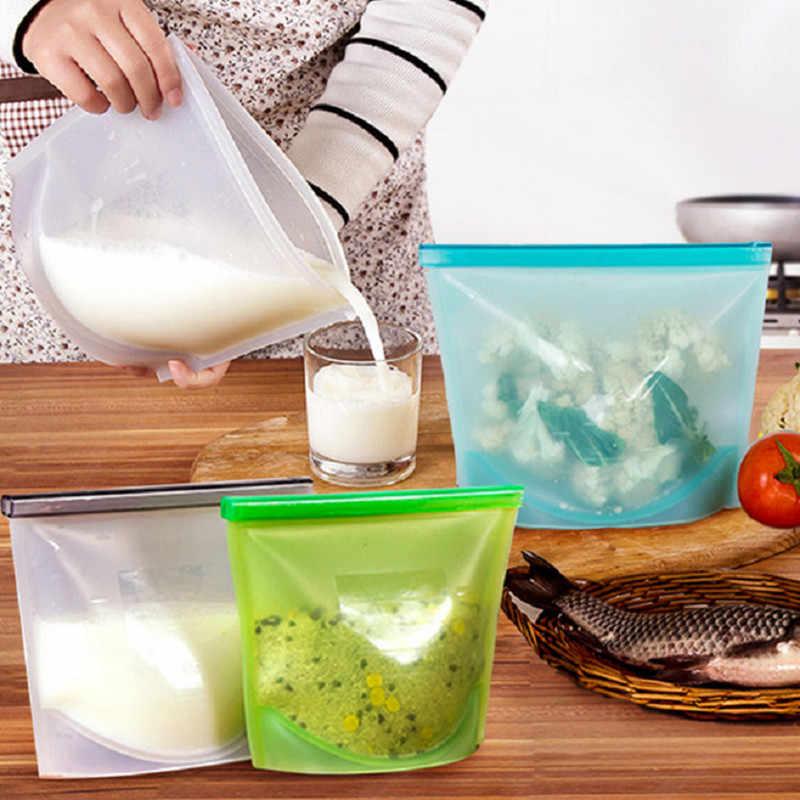 50PCS Reusable Silicone Food Bag Ziplock Bag Vacuum Sealer Fruit Meat Milk Fresh Silicone Bag Food Storage Kitchen Accessories