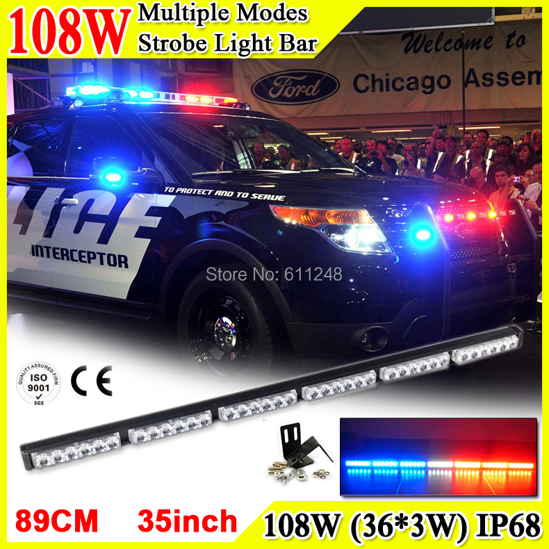 108W Super Bright Led Strobe Flash Warning Light Bar 35 Led Light Bar 4x4 Offroad Flashlight Amber Red Blue Led Police Lights