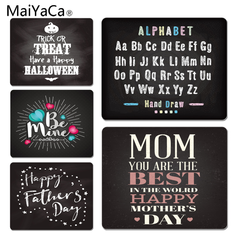 MaiYaCa New Arrivals Chalk Drawing Alphabet Best Mom Happy Father Day Computer Gaming Mousemats Size for 180x220x2mm Mousepad