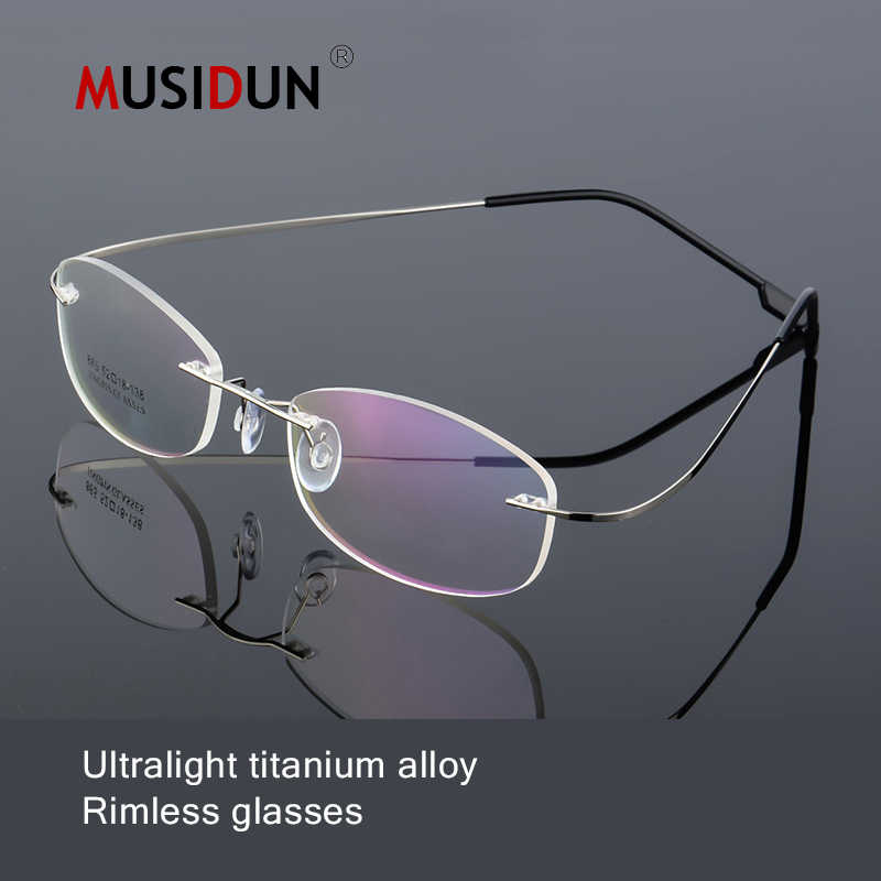 dd1bc5895f894f fashion Optical Rimless Glasses Man woman Titanium Alloy myopia Eyeglasses  Frame female Superelastic Ultra-light