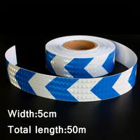 50mx5cm Blue&White Arrow Reflective Strips Glue Stickers For Car Styling Motorcycle Automobiles Decoration Safety Warning Tape