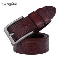 Hot Sale Men Belts Luxury Genuine Leather Sculpture Designer Wide Belt Man Buckle Real Cow Skin