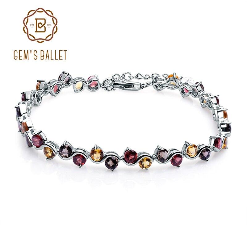 GEM S BALLET Natural Garnet Citrine Smoky Quartz Tennis Bracelet 925 Sterling Silver Gemstone Bracelet Fine