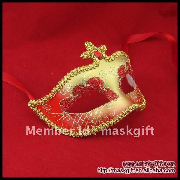; Модель года Venetian Стиль красный и золотой маскарад маска с камнем, маска партии