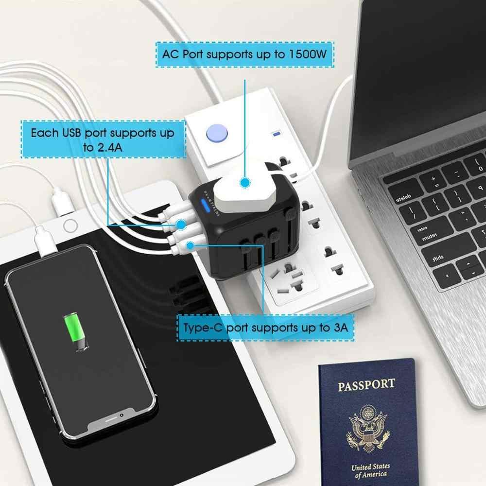 Merindukan Universal Travel Adaptor Auto Reset Fuse Bayi Aman Desain 5A 3 USB + 1 Typc C Di Seluruh Dunia Charger Dinding untuk UK/EU/AU/Asia
