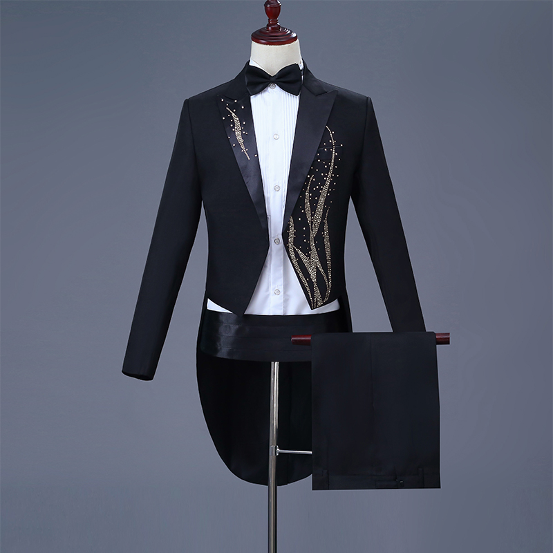 Cozimastarla Mens Wedding Dress Suits Chorus Singer Stage Magic Costume Men Groom Tuxedo Tailcoat Black (jacket+pant+belt+bow)