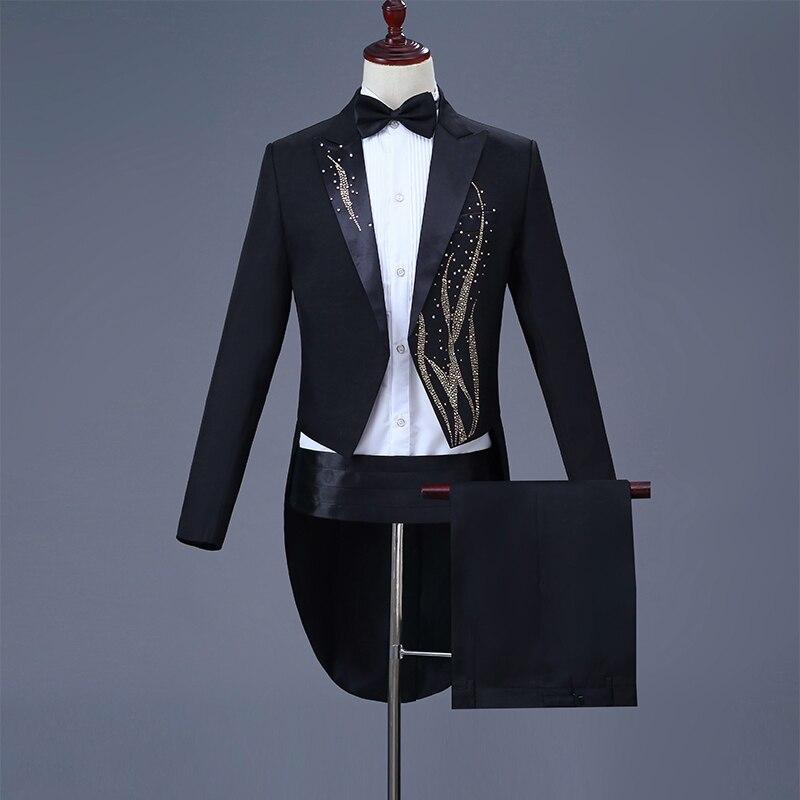 Cozimastarla Robe De Mariage des Hommes Costumes Chorus Chanteur Stade Magique Costume Hommes Marié Smoking Tailcoat Noir (veste + pantalon + ceinture + arc)